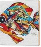 Seven Fish Wood Print