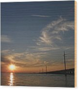 Seven Mile Bridge Sunset Wood Print