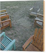 Several Lawn Chairs Scattered Wood Print by Joel Sartore