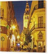 Sevilla At Night Wood Print