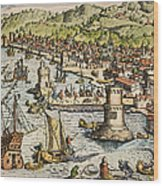 Seville: Departure, 1594. /ndeparture For The New World From Sanlucar De Barrameda, The Port Of Seville, Spain. Line Engraving, 1594, By Theodor De Bry Wood Print