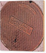 Sewer Cover Wood Print