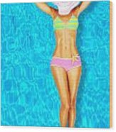 Sexy Woman Body In The Pool  Wood Print by Anna Om