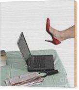 Sexy Woman Kicks A Laptop  Wood Print