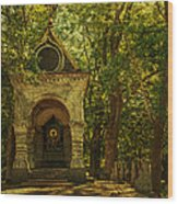 Shaded Chapel. Golden Green Series Wood Print