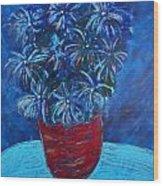 Shades Of Blue Wood Print