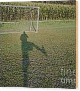 Shadow From A Football Player Wood Print