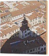 Shadow Of The Duomo On Buildings Of Florence Wood Print by Jeremy Woodhouse