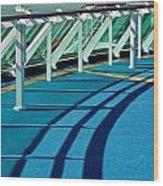 Shadows And Railings Wood Print