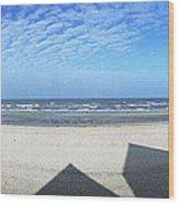 Shadows Utah Beach Wood Print