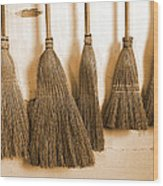 Shaker Brooms On A Wall Wood Print