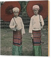 Shan Women Wearing Traditional Colorful Wood Print