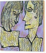 She And He Pen And Ink 2000 Digital Wood Print