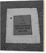 Shea Stadium Second Base Wood Print by Rob Hans
