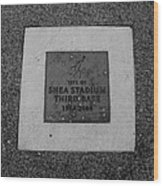 Shea Stadium Third Base In Black And White Wood Print