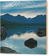Sheep Clouds Above  A Lake  Wood Print