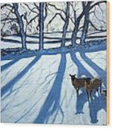 Sheep In Snow Wood Print
