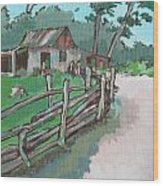 Sheep Sheering Shed Wood Print