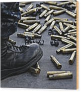 Shell Casings From A .50 Caliber Wood Print