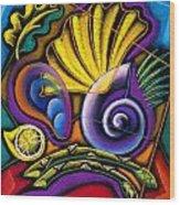 Shellfish Wood Print by Leon Zernitsky