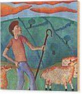 Shepherd Boy Detail Of Red Sky At Night Wood Print