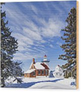 Sherwood Point Lighthouse And New Snow -  - D001650 Wood Print