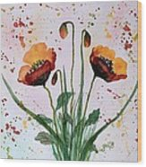 Shining Red Poppies Watercolor Painting Wood Print