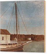 Ship At Dock Wood Print