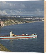 Ship Leaving Golden Gate Wood Print