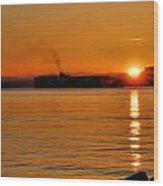 Ship Meets Sunrise Wood Print