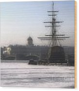Ship On Neva River Wood Print