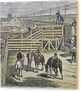 Shipping Cattle, 1877 Wood Print