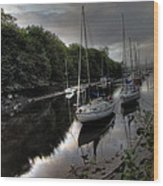 Ships On The Almond River Wood Print