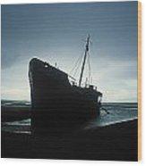 Shipwreck At Baltray Beach, Co Louth Wood Print