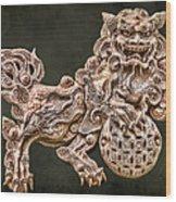 Shisa Wood Print by Karen Walzer