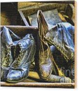 Shoe - Vintage Ladies Boots Wood Print