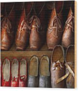 Shoemaker - Shoes Worn In Life Wood Print by Mike Savad