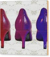 Shoes In Red To Blue Wood Print