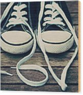Shoes With Laces Wood Print