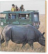 Shooting Rhinos Wood Print