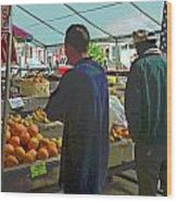 Shopping At The Farmers Market Wood Print