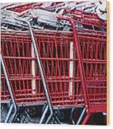 Shopping Carts Wood Print by Sam Bloomberg-rissman