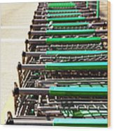 Shopping Carts Stacked Together Wood Print