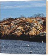 Rockport Shore Rocks - Greeting Card Wood Print