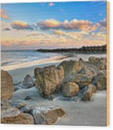 Shoreline Folly Beach Wood Print by Jenny Ellen Photography