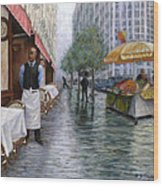 Shower On Sixth  Avenue Wood Print by Victor Zucconi