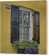 Shutters And Window Boxes Wood Print