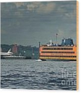 Shuttle Enterprise Glides Past Staten Island Ferry Wood Print by Tom Callan