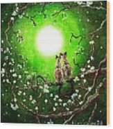 Siamese Cats In Spring Moonlight Wood Print