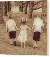 Siblings Taking A Walk Wood Print